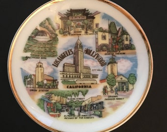 Vintage Los Angeles- Hollywood Souvenir Plate