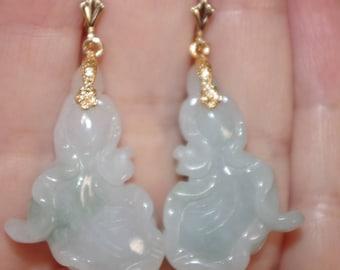 Vintage 14K Focal Point Fortune Flower Naphrite Jade lever Back Earrings AA