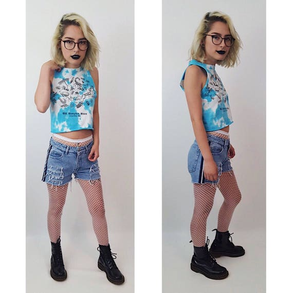90s Remade Cut Off Side Striped High Waisted Shorts - Extra Small 0 1 2 Vintage Jean Shorts - XS Cutoff Shredded Holey Denim Short