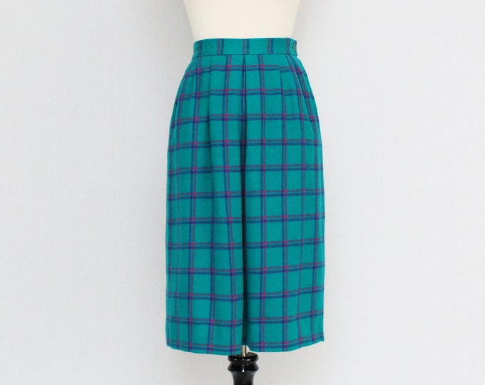 Vintage 1970s Pendleton Teal Plaid Wool Skirt - Size Small