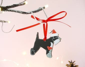 Schnauzer Christmas Ornament - Schnauzer Christmas Decoration - Dog Christmas Decorations - Schnauzer Gifts - Black & Silver Schnauzer