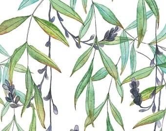 A3 Art Print Illustration, Tropical Twigs, 42x29,7 cm, Watercolor and Pen