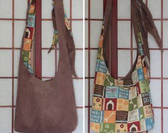 Brown Corduroy Crossbody Hobo Bag, Dog Lover Gift, Handmade Hippie Boho Reversible Sling Bag, Recycled Fabric, Adjustable Strap Cross Body