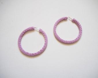 Purple/ Lilac Knitted Hoop Earrings 8cm
