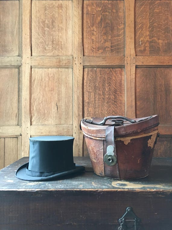 Antique Top Hat and Leather Box, Tattered Top Hat and Box, Distressed Top Hat, Victorian Decor