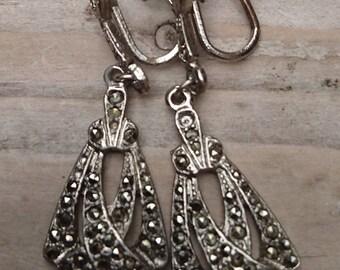 Vintage marcasite screwback earrings