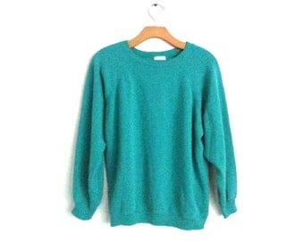Vintage 90s Sweatshirt Teal Hanes Large