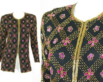 NWT Vintage Sequin Jacket Stenay Size Small Floral Pink Gold Black Deadstock Blazer