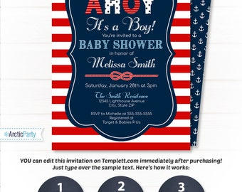 Nautical Baby Shower Invitations - Nautical Invitation - Nautical Shower -  Nautical Party - EDIT at home NOW  with Templett.com!