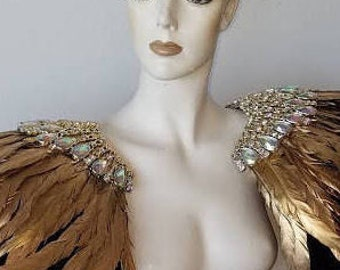 Gold and Black Feather epaulet epaulette shoulder piece Wings Ostrich Pageant Carnival Shoulder WFF Showgirl