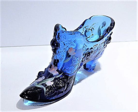 Fenton Glass Shoe Cobalt Blue Cabbage Rose Hand Painted Flowers Artist Signed Vintage 1980s Art Glass Slipper Collectible Home Decor Display