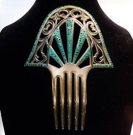 Large Antique Hair Comb 1910s Edwardian Backcomb French Celluloid Emerald Green Rhinestone Comb Late Art Nouveau Early Art Deco Wedding Comb