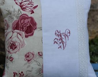 cushion 34/37 lige old canvas fabric cabbage Monogram V