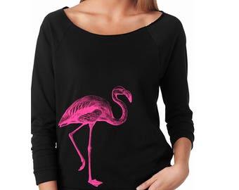 Slouchy Sweatshirt, Flamingo Sweater, Pink Flamingo Sweatshirt, Bird, Animal Lightweight 3/4 Sleeve Raw Edge Raglan Sweater, Ringspun Cotton