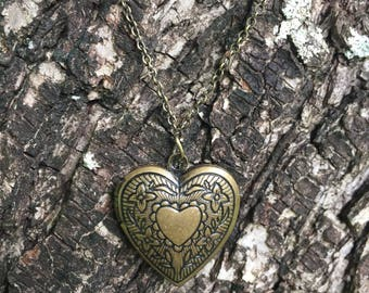 Distressed Brass Heart Locket