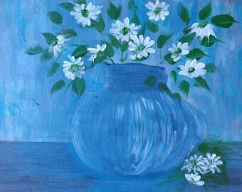 acrylic painting still life glass jar