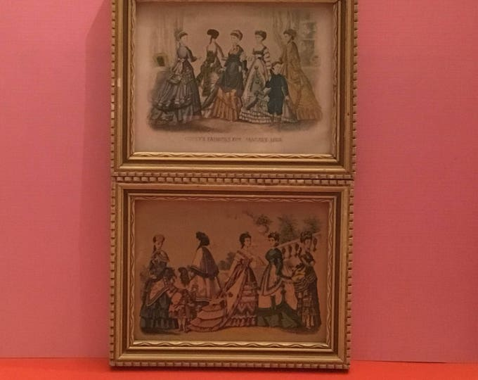 Set of Two Mini Framed Godey's Fashion For Ladies Prints