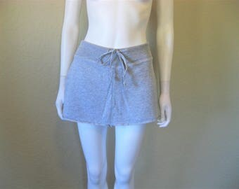 Heather Grey Sweat pant mini Skirt w built in under shorts - small