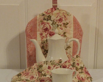 Rose Tea Cozy and 4 Coasters
