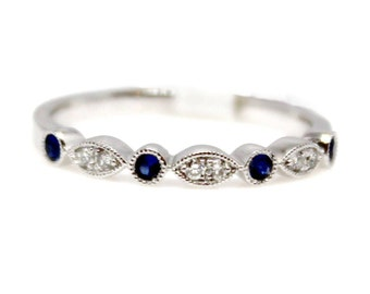 Sapphire and Diamond Band in 18k White Gold Wedding Ring Geometrical Stacking