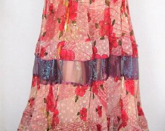 Gypsy skirt, Gypsy belly dance, Belly dance skirt, Gypsy frill 5-tier skirt with belt, Muticolour gypsy skirt, 9 yard skirt