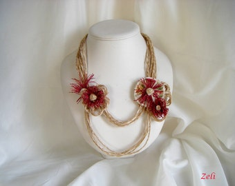 Necklace made of linen and jute thread, flowers in red linen