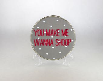 Salt n' Pepa Hoop Art - You make me wanna shoop - Pink and Gold - 5 inch