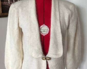Cashmere 1980's Shoulder Pad Cardigan