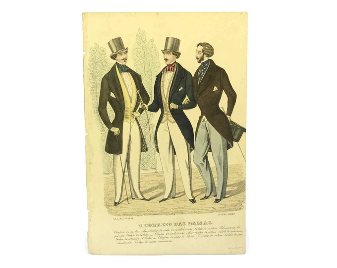 Antique 1846 Mens Fashion Illustration.