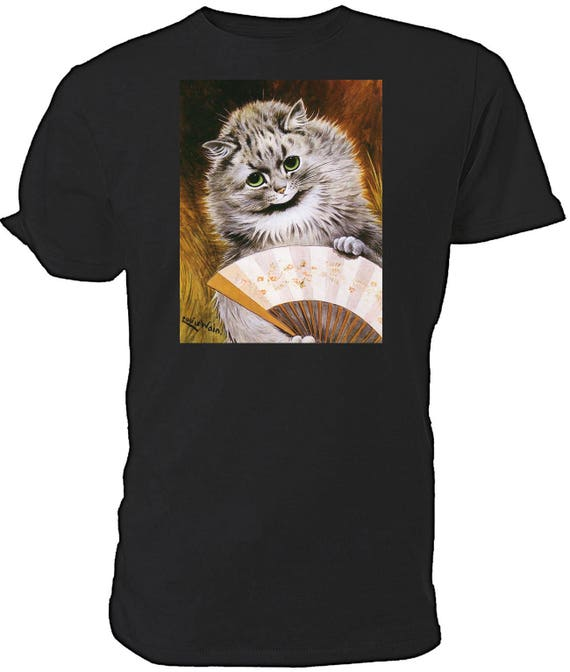 Louis Wain Cat with Fan T shirt. classic round neck short sleeved choice of sizes and colours,