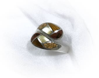 Sterling Silver Multistone Inlay Adjustible Ring Vintage