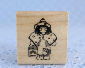 Small Halloween Stamp, Trick or Treat, Scarecrow Costume, Wood Mounted, Rubber Stamp, DOTS, Paper Crafts, Card Tag Making