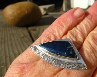 Rare Metallic Blue Covellite Sterling Silver Ring - Size 7.25 to 7.5