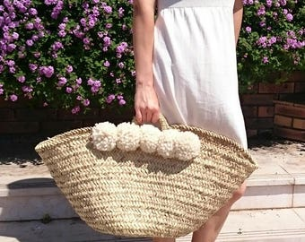 Straw bag wicker bag straw tote moroccan basket straw basket moroccan basket bag beach bag beach basket, pom pom bag, summer bag basket tote