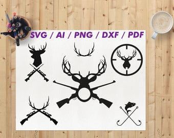 Deer hunting svg / Hunting svg / Deer hunting svg file / Deer hunting silhouette svg / Deer hunting clipart / Hunting clipart / png / eps