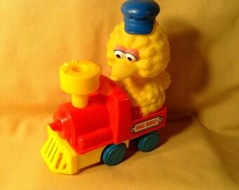Big Bird Train Engineer Toy - Train Engine Car, Locomotive - Jim Henson Sesame Street - Tyco Preschool, made in China - Nursery Decor