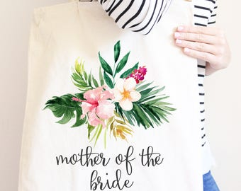 Mother Of The Bride, Personalized Canvas Tote Bag, Wedding Party Gift Bags