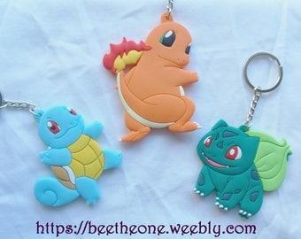 Keychain PVC Kawaii Pokemon 1st Generation - Charmander, Squirtle or Bulbasaur