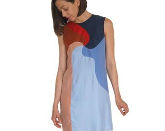Color Block Silk Spiral Shift Dress