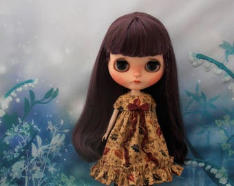 Blythe Dress ~ Golden Autumnal Leaves Empire Ruffles & Shabby Bow ~ Blythe Doll Clothes Outfit Pure Neemo S Licca Pullip