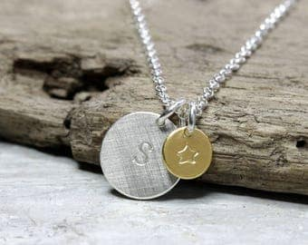 Silver necklace with pendant letter silver/gold with letter, necklace, small round pendant with star, 925 silver