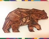 Bear Polygon [HANDMADE] Sculpture Wall-Art Outdoors Wildlife Woodworking