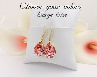 FREE US Ship Gold Rose Peach Swarovski Teardrop Bridal Earrings Swarovski Rose Peach Bridal Earrings Gold Rose Peach Crystal Earrings