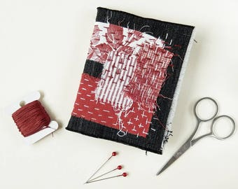 Needle book, Needle case - Denim , Hand Stitched, Sewing Gift, Black, Red