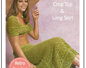 1970s Sun Top and Skirt Vintage Crochet Pattern - PDF Instant Download