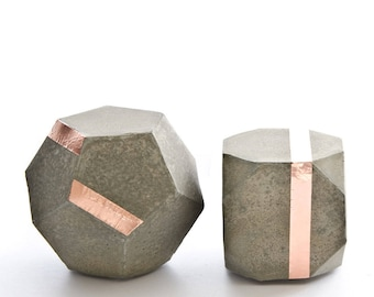 Geometric Concrete Copper Decor Sculptures, dodecahedron, truncated hexahedron, set of 2, paperweight, beton bookend