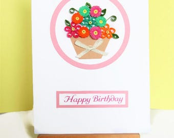 Flowers birthday card, birthday card, quilled card, paper quilling, greeting card, handmade card,  quilling card, quilled flowers,