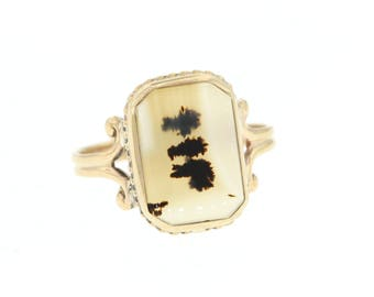 Antique Agate Ring, Vintage Moss Agate Ring, Yellow Gold Dendritic Agate Ring
