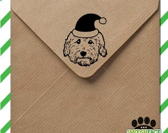 Goldendoodle Santa stamp - custom dog stamp - wood mounted stamp with handle or self inking - great Doodle gift!