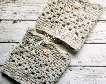 Handmade Boot Cuffs Beige Oatmeal Aran Tweed Wood Button Scallop Leg Warmers Crochet